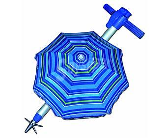 PINCHO Parasol de 8 varillas inclinable y con tubo de aluminio de 22/25 milímetros, con tela de poliéster con protección upf, ventana superior para una mejor ventilación y resistencia al viento y medida de 2 metros. Incluye pincho de fijación y bolsa de transporte 1 unidad