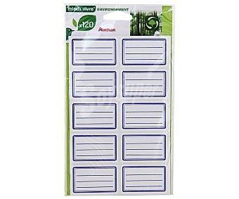 AUCHAN Bolsa de Etiquetas Adhesivas con Lineas Azules 36X56 Centímetros 120 Unidades