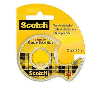 Scotch Rollo de cinta adhesiva de doble cara de 6.3 metros y 12 milímetros + dispensador scotch 1u