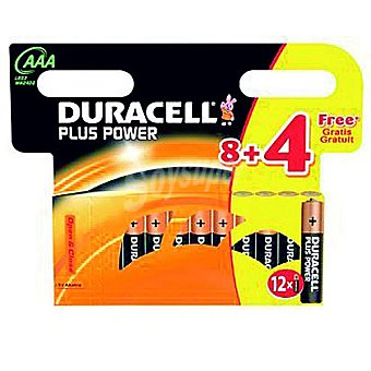 Duracell LR03 AAA pilas alcalinas Plus Power blister 8+4 unidades 8+4 unidades