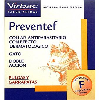 VIRBAC PREVENTEF Collar antiparasitario con efecto dermatológico para pulgas y garrapatas para gatos 1 unidad