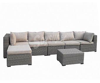 Garden Star Conjunto de 7 piezas, compuesto por 1 mesa y 6 sillones, con sus respectivos cojines, en gris antracita y con estructura de acero y recubiertos de rattan 1 unidad