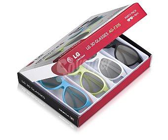 LG Electronics Pack de 4 Gafas 3D Pasivas party pack AG-F315 compatible con televisores 3D pasivos de LG