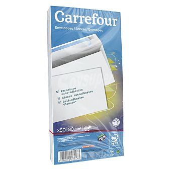 Carrefour Sobres Autoadhesivos 110x220mm 80 gr 50 ud
