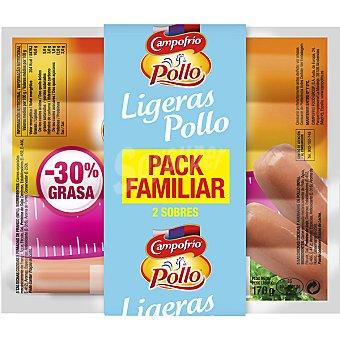 Campofrío salchichas de pollo ligeras envase familiar pack 2 bolsa 170 g