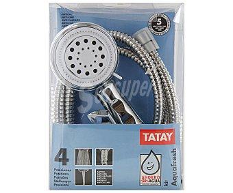 Tatay Conjunto antical de flexo y mango de ducha cromados, 4 posiciones 1 Unidad