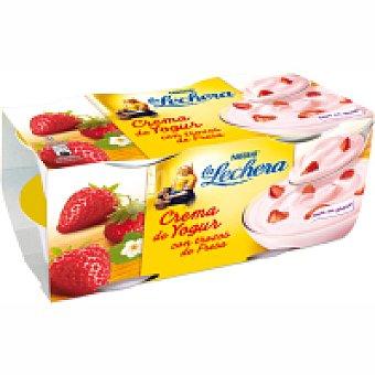 La Lechera Nestlé Crema de yogur con fresas Pack 6x125 g