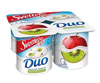 Sveltesse Nestlé Yogur desnatado selección con trozos de manzana y kiwi 0% materia grasa 4 unidades de 125 gramos
