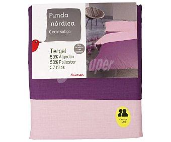 Auchan Funda nórdica color morado bicolor para cama de 150 centimetros 1 unidad