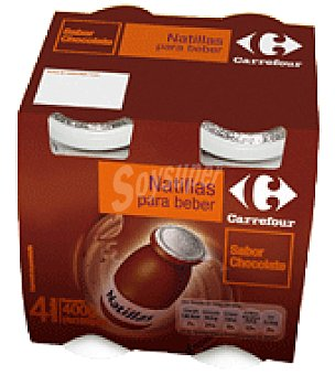 Carrefour Natillas para beber sabor chocolate Pack de 4x100 g