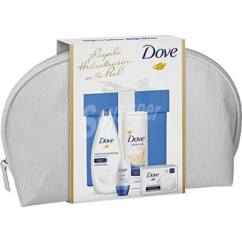 Dove neceser Woman con gel de ducha hidratación + loción corporal frasco 400 ml + desodorante Original roll-on + pastilla de jabón frasco 540 ml