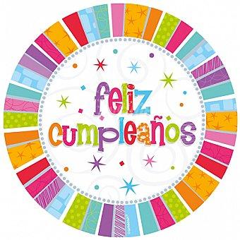 """LIRAGRAM Plato cartón decorado """"feliz cumpleaños"""" 22.8 cm 8 unidades"""