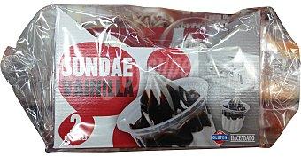 HACENDADO Helado vainilla chocolate Sundae Paquete 2 u