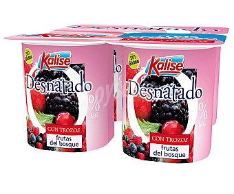 Kalise Yogur sin gluten, 0% materia grasa y con trocitos de frutas del bosque 4 x 125 gr