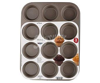 Actuel Molde de metal antiadherente, capacidad para 12 magdalenas o muffins de 7,5cm. de diámetro ACTUEL.