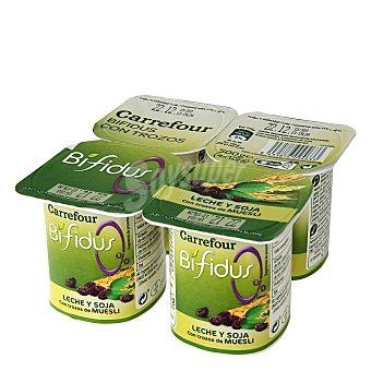 Carrefour Yogur Bífidus 0% con Muesli, cereales y soja Pack de 4x125 g