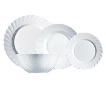 Luminarc Vajilla 19 piezas fabricada en vidrio Opal color blanco y diseño clásico redondeado, Trianon luminarc
