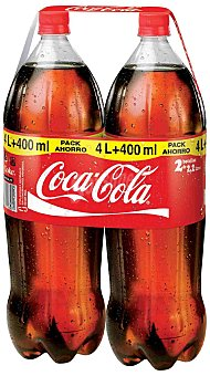 Coca-Cola Cola normal pack 2 botellas x 2,2 l, total 4,4 l