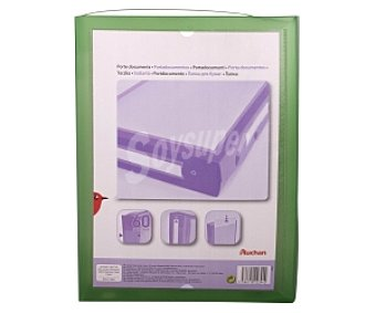 Auchan Carpeta de proyectos de polipropileno verde, de tamaño folio, con cierre de botón y lomo personalizable de 60 milímetros )