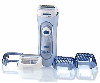 BRAUN SILK-ÉPIL LS 5160 Afeitadora femenina uso en seco y en mojado, alimentación a pilas, incluye 4 accesorios