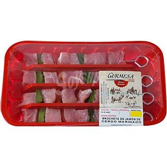 GURMESA brochetas de jamón de cerdo marinado bandeja 290 g 4 unidades