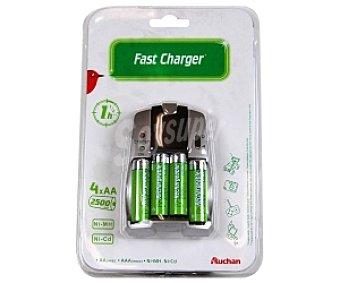Auchan Cargador rápido aa/aaa +4 pilas AA 2650 mah 1 unidad