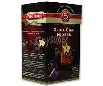 POMPADOUR Té Spicy Chai India (té negro, especiado y con una delicada nota picante) 10 Unidades