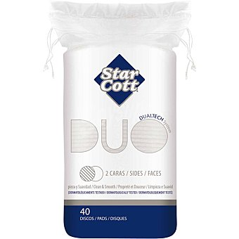 STAR COTT Duo discos desmaquilladores ovalados 2 caras Bolsa 40 unidades