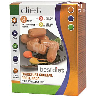 BESTDIET Frankfurt Cocktail salchichas proteinadas con salsa ketchup y mostaza 3 envase 300 g pack de 6 unidades
