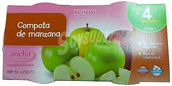 HACENDADO Tarrito compota manzana  a partir 4 meses 2 tarritos de 130 g