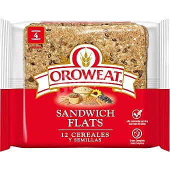 Oroweat sandwich flats pan para sandwich 12 cereales y semillas grano completo 4 unidades bolsa 180 g 4 unidades