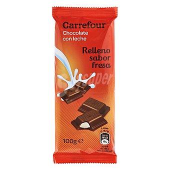 Carrefour Chocolate con leche relleno sabor fresa 100 g