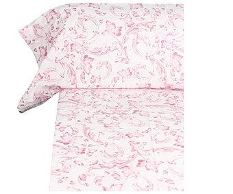 Auchan Juego de sábanas de 3 piezas 50% algodón, color rosa estampado floral, 90cm., AUCHAN.