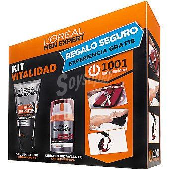 Men Expert L'Oréal Paris Pack Fuerza con fluido hidratante Vitalift tensor + fuerza + gel limpiador carbón magnético tubo 150 ml Frasco 50 ml