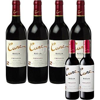 Cune Vino tinto crianza D.O. Rioja caja 4 botellas 75 cl + gratis 2 botella 37,5 cl de vino tinto crianza 4 botellas 75 cl