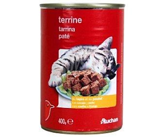 Auchan Comida Húmeda para Gato de Paté de Conejo y Pollo Lata 400 Gramos