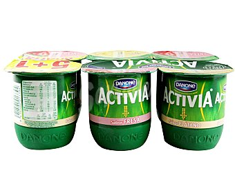 Activia Danone Yogur sabor fresa/plat 6 X 125 GRS