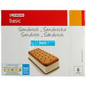 Eroski Basic Sandwich de nata Pack 6x100 ml