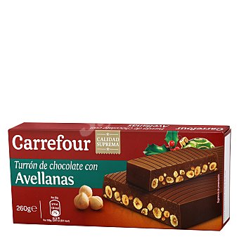 Carrefour Turrón de chocolate con avellanas 260 g