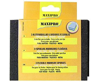 MAXIPRO Pack de 3 Almohadillas Flexibles con Lija de Grano Fino, Medio y Grueso 1 Unidad