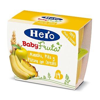 Hero Baby Tarrito todofruta manzana, piña y plátano con cereales Pack de 4x100 g