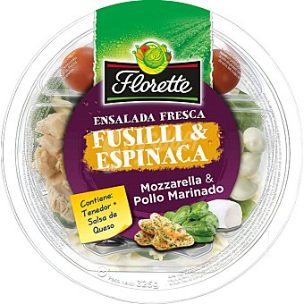FLORETTE Ensalada fusilli & espinaca mozarella & pollo marinado  tarrina de 325 g