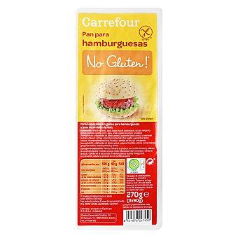 Carrefour-No gluten Pan para hamburguesa 3 ud