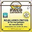 Mejillones fritos en escabeche de las rías gallegas gigantes 4-6 piezas Lata 75 g neto escurrido Paco lafuente