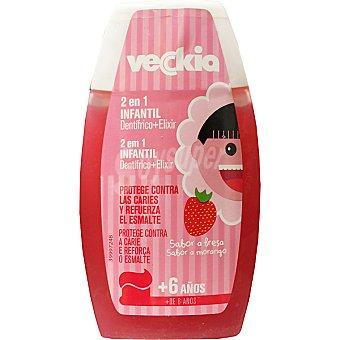Veckia Dentífrico con elixir 2 en 1 sabor a fresa +6 años bote 100 ml protege contra la caries y refuerza el esmalte Bote 100 ml