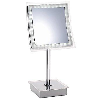 CASACTUAL Espejo de pie cuadrado con luz en color cromo