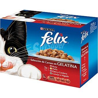 FELIX Selección de carnes en gelatina para gato sobre de 100 g