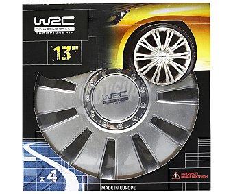 """WRC Juego de 4 tapacubos para ruedas de 13"""" y acabado en color gris 1 unidad"""