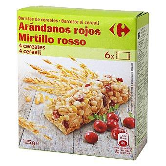 Carrefour Barritas de cereales con arándonos rojos 6 unidades de 21 g