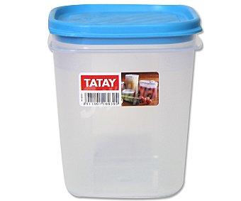 TATAY Tupper cuadrado de plástico transparente con tapa color azul, 0.7 litros 1 Unidad